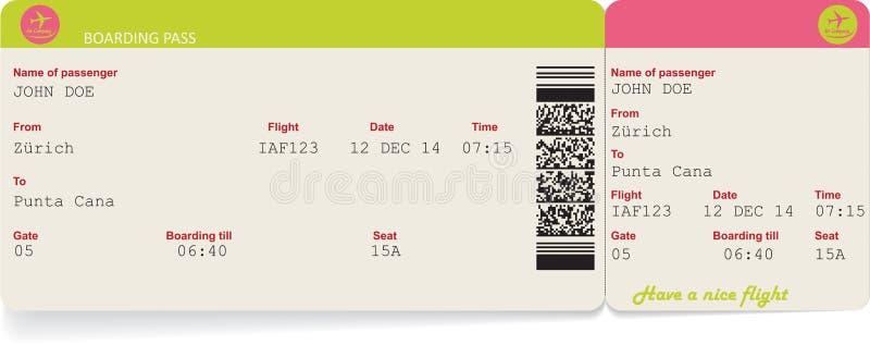 Изображение вектора билета посадочного талона авиакомпании иллюстрация вектора