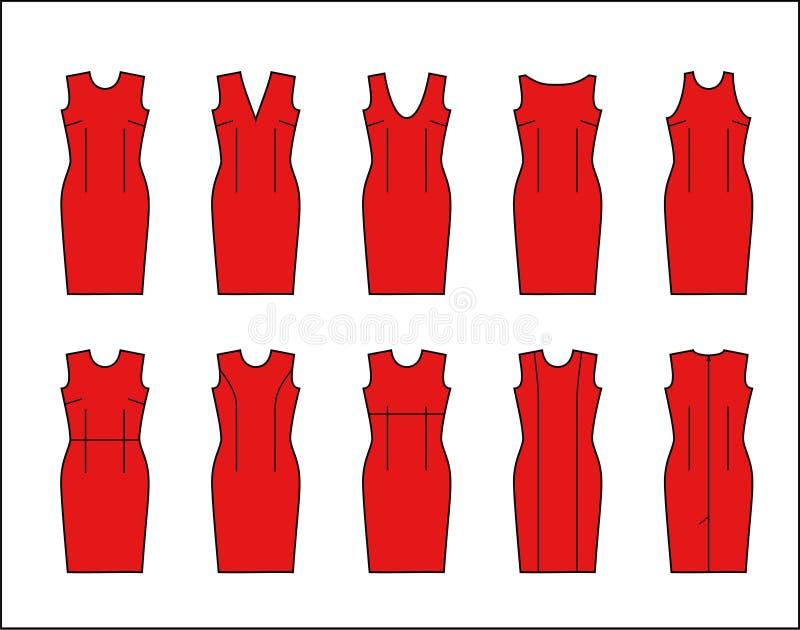 Изображение вектора вводит сразу платья в моду с различными necklines иллюстрация штока