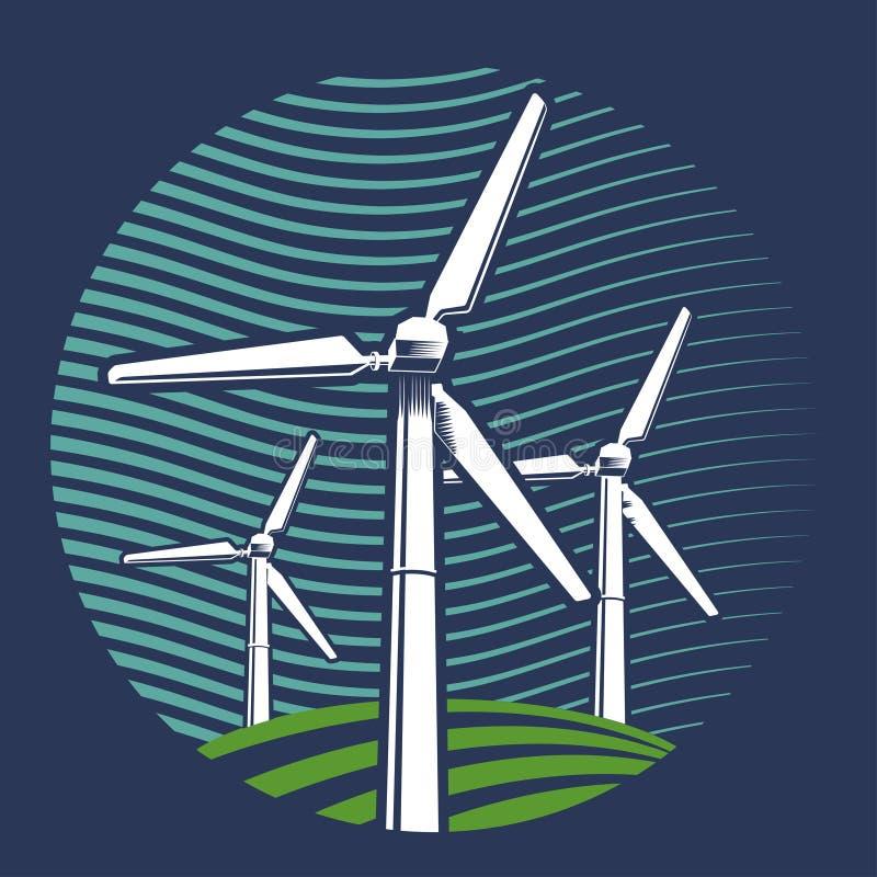 Изображение вектора ветротурбины Иллюстрация логотипа иллюстрация штока