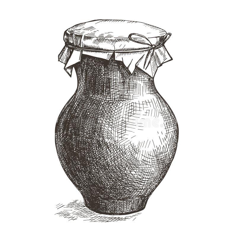 Изображение вектора глиняного кувшина с молоком Иллюстрация стиля эскиза иллюстрация вектора