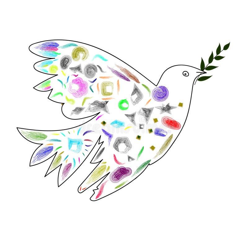 Изображение вектора голубя с оливковой веткой в стиле кубизма стоковые изображения
