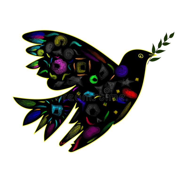 Изображение вектора голубя с оливковой веткой в стиле кубизма стоковые фотографии rf