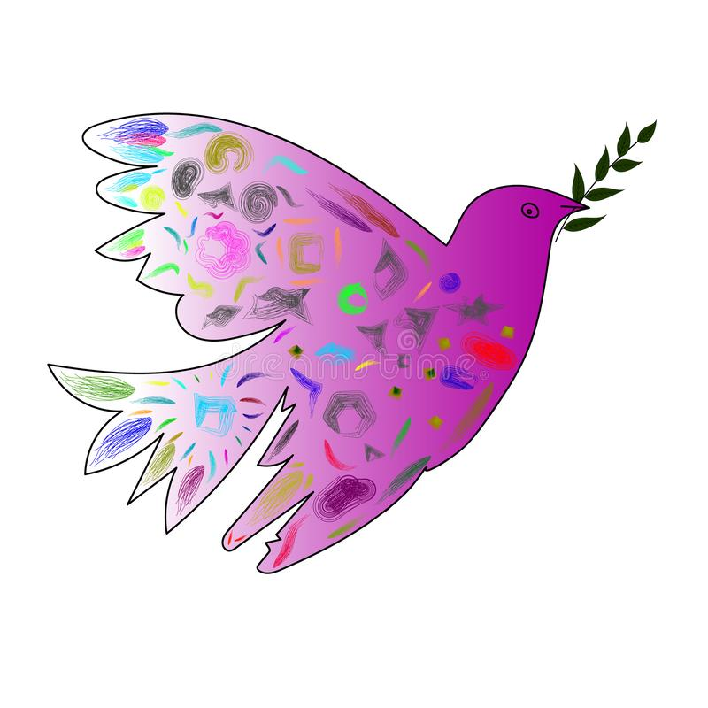 Изображение вектора голубя с оливковой веткой в стиле кубизма стоковые изображения rf