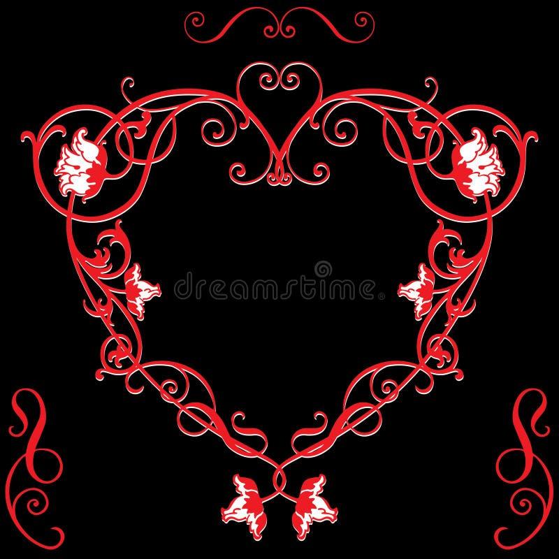 Изображение вектора декоративного флористического сердца в винтажном стиле иллюстрация вектора
