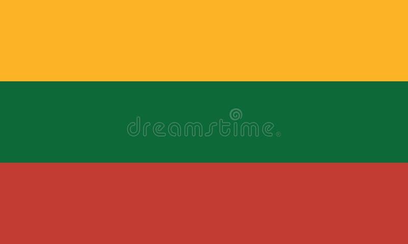 Изображение вектора для флага Литвы Основанный на должностном лице и точных размерах & цветах флага Литвы иллюстрация вектора