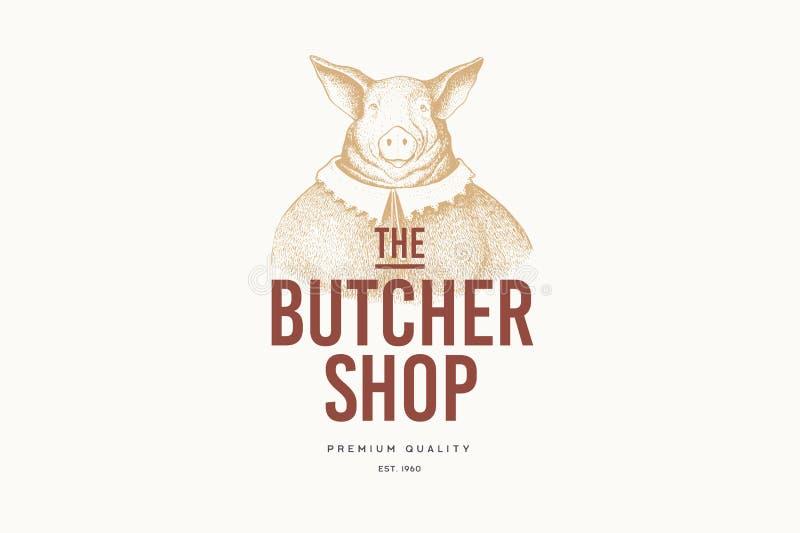 """Изображение вектора женщин-свиньи в платье в методе гравировки и надписи: """"Мясная лавка """"на светлой предпосылке иллюстрация вектора"""