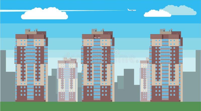 Download Изображение вектора дизайна города 2D плоское Иллюстрация вектора - иллюстрации насчитывающей промышленно, центр: 81813727