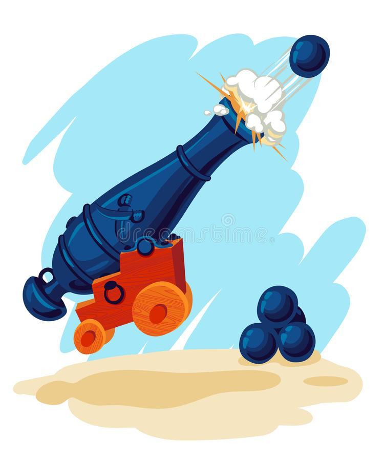 Изображение вектора карамболя с пушечными ядрами бесплатная иллюстрация