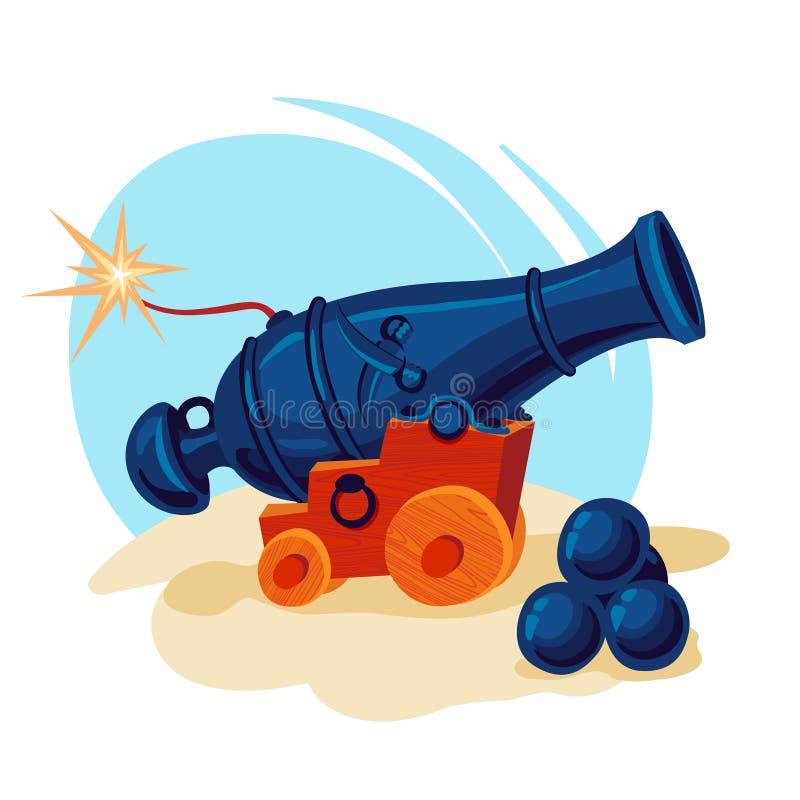Изображение вектора карамболя с пушечными ядрами иллюстрация штока