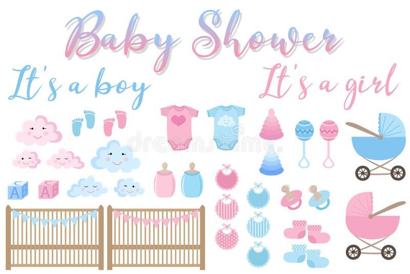 Изображение вектора карты приглашения для детского душа Установите деталей для поздравительных открыток для newborn мальчика и де иллюстрация штока