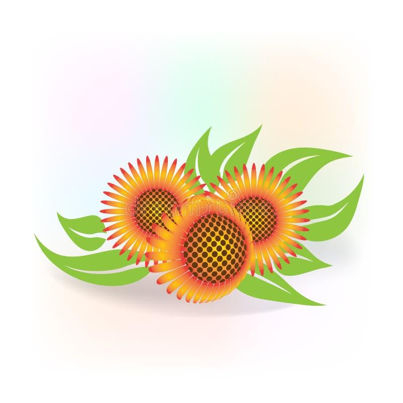 Изображение вектора логотипа значка солнцецветов иллюстрация штока