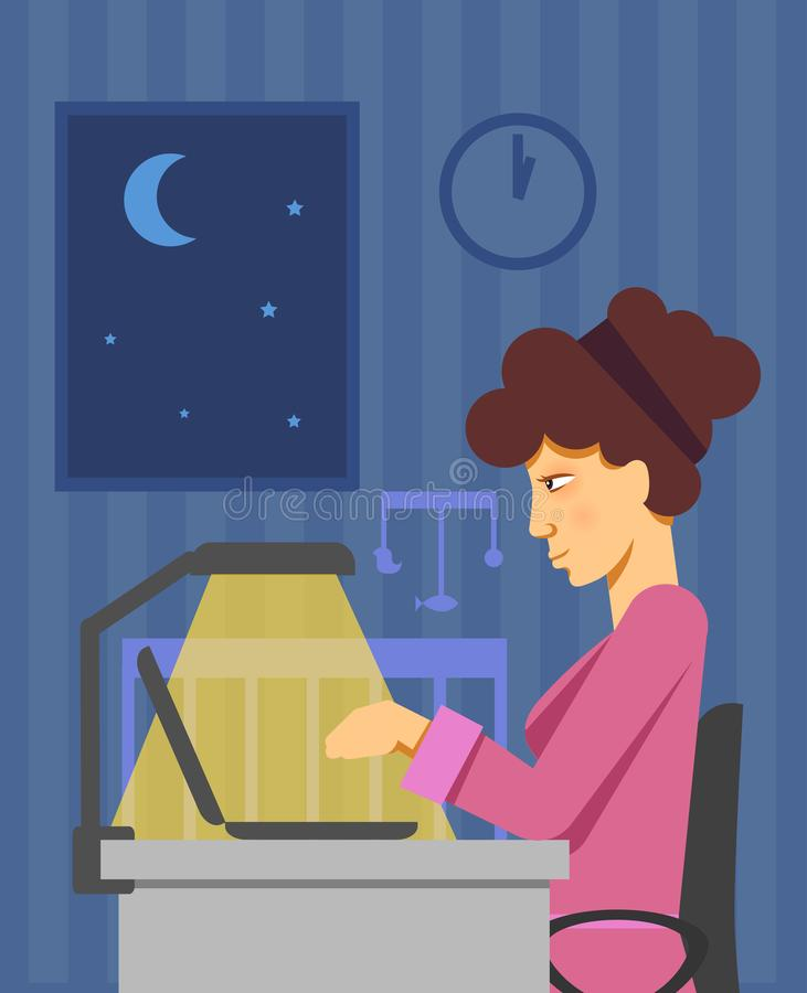 Изображение вектора матери работая в последнее время на компьютере пока младенец спит Вектор работы неполный рабочий день Работа  иллюстрация штока