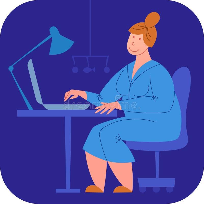Изображение вектора матери работая в последнее время на компьютере пока младенец спит Вектор работы неполный рабочий день Balanc  иллюстрация вектора