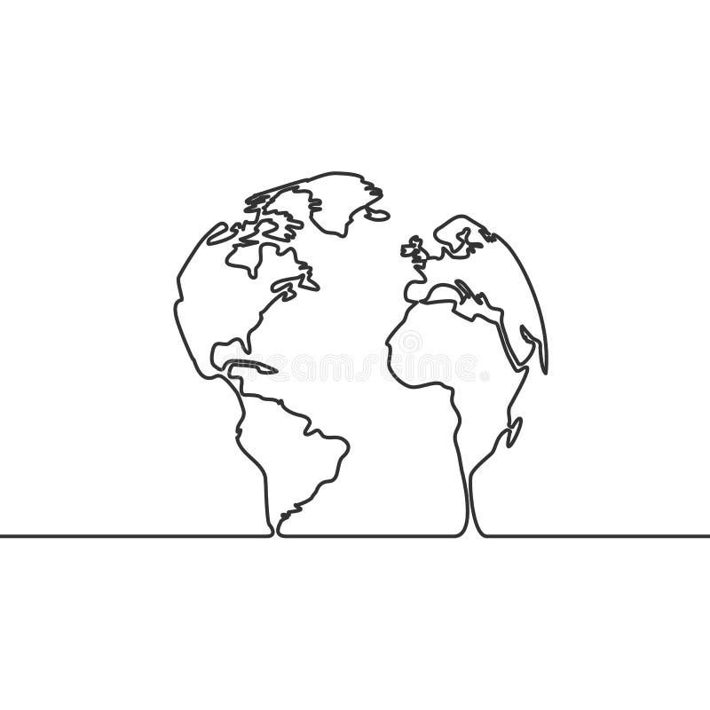 Изображение вектора непрерывной линии глобуса чертежа земли иллюстрация вектора