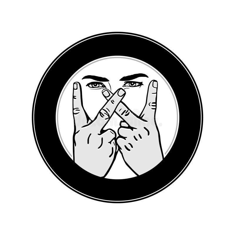 Изображение вектора плана жеста рукой w письма Иллюстрация рук делая w иллюстрация вектора