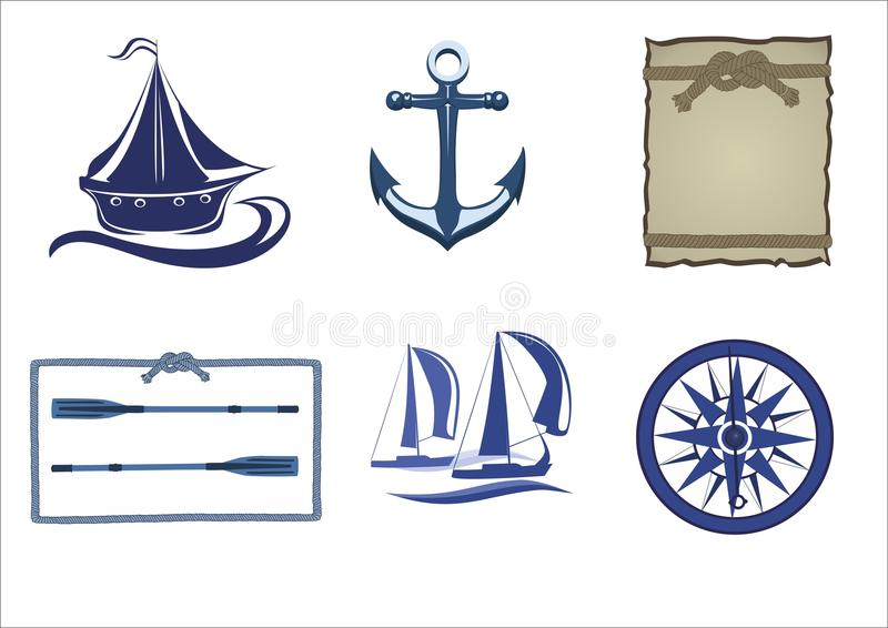 Изображение вектора силуэтов моря иллюстрация штока