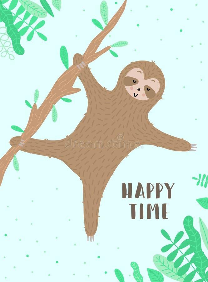 Изображение вектора счастливой танцуя лени на ветви Нарисованная вручную иллюстрация для детей, тропическое лето мультфильма, пра бесплатная иллюстрация