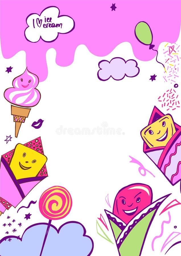 Изображение вектора с очень вкусной иллюстрацией мороженого иллюстрация вектора