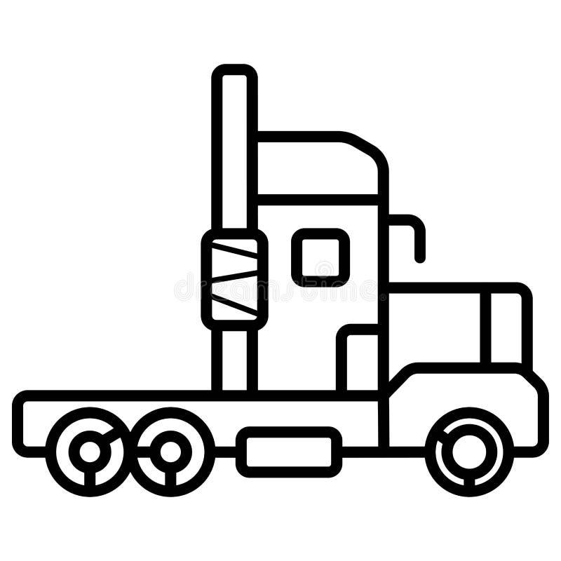 Изображение вектора тележки блока трактора без трейлера в плоском сти иллюстрация штока