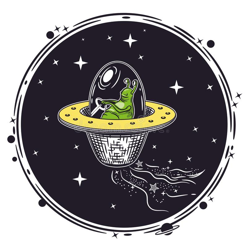 Изображение вектора чужеземца в летающей тарелке Круглая эмблема бесплатная иллюстрация
