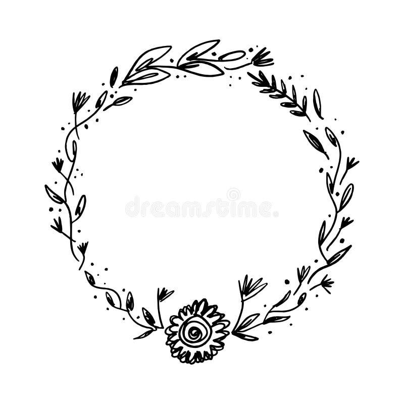 Изображение вектора, clipart, editable детали Флористическая рамка чернил, шаблон текста иллюстрация штока