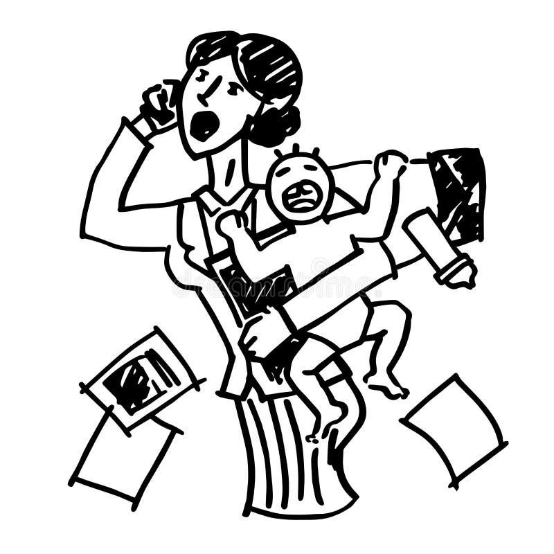 Изображение вектора doodle работающей матери с младенцем работая в офисе Работа и изображение баланса жизни иллюстрация вектора