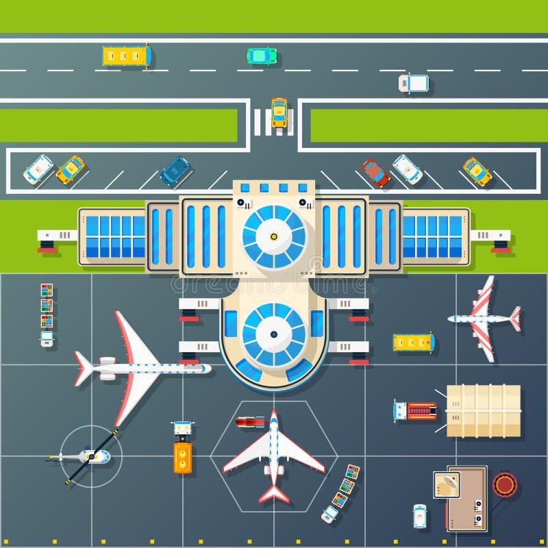 Изображение взгляд сверху автостоянки авиапорта плоское иллюстрация вектора