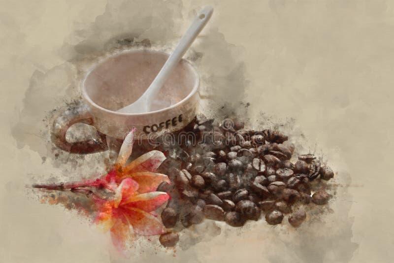 Изображение влияния акварели кофейной чашки иллюстрация штока