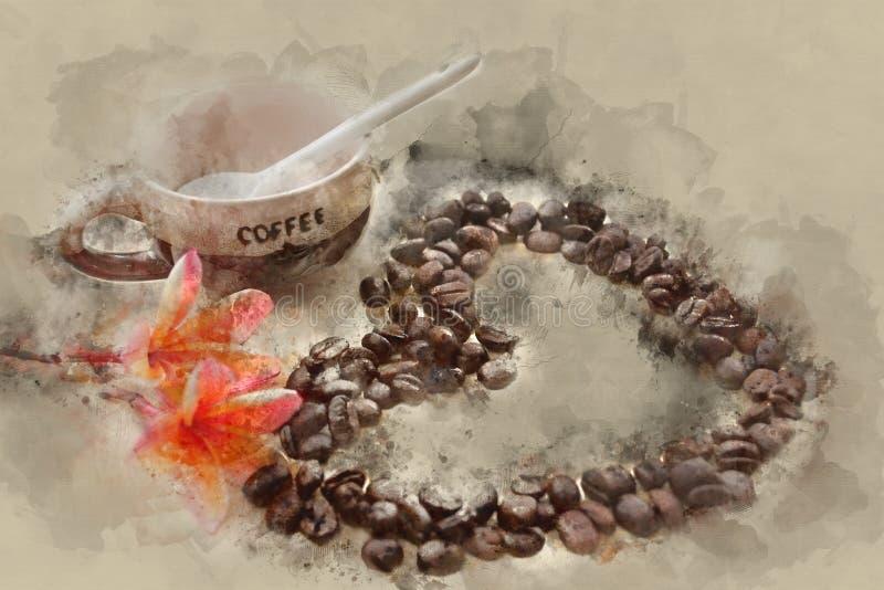 Изображение влияния акварели кофейной чашки бесплатная иллюстрация