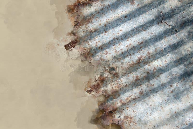 Изображение влияния акварели ржавого цинка иллюстрация штока