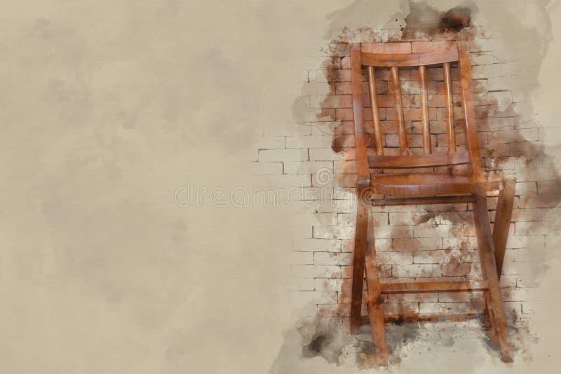 изображение влияния акварели стула и кирпичной стены иллюстрация штока
