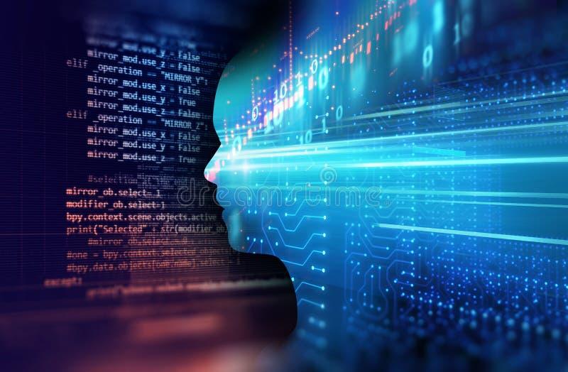 Изображение двойной экспозиции финансовой диаграммы и виртуального человека 3dill стоковые изображения