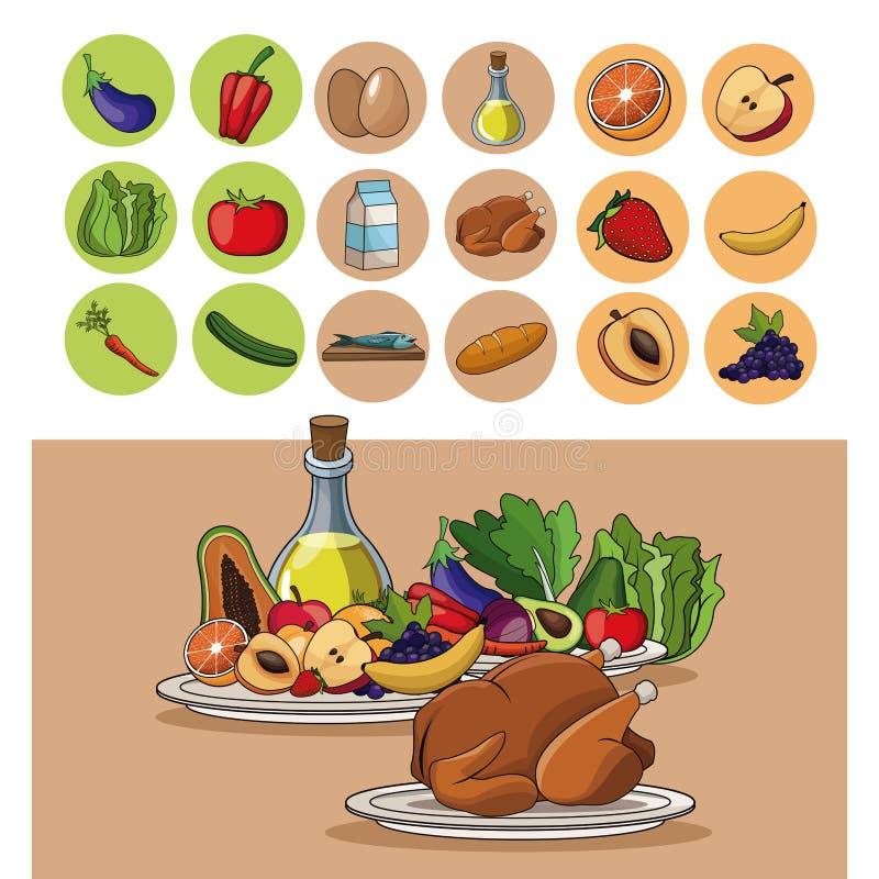 Изображение диеты витаминов преимуществ питания еды иллюстрация штока