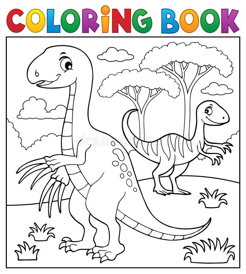 Изображение 4 динозавра книжка-раскраски подчиненное иллюстрация вектора