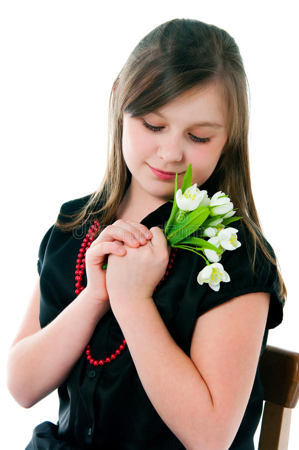 Изображение девушки с пуком цветков стоковая фотография rf
