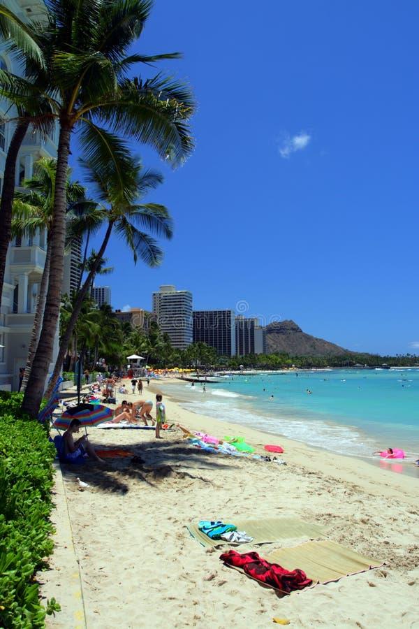 Изображение запаса пляжа Waikiki, Гонолулу, Оаху, Гаваи стоковые изображения