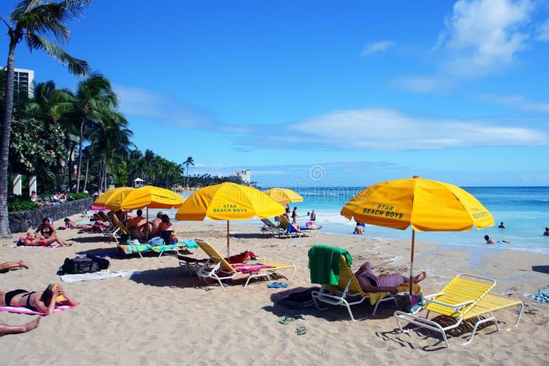 Изображение запаса пляжа Waikiki, Гонолулу, Оаху, Гаваи стоковое фото rf