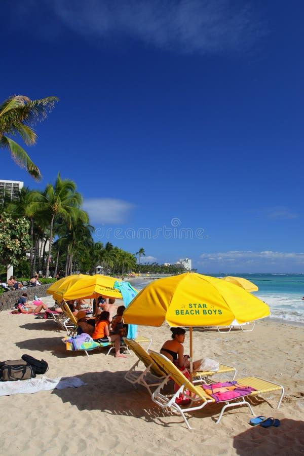 Изображение запаса пляжа Waikiki, Гонолулу, Оаху, Гаваи стоковые фото