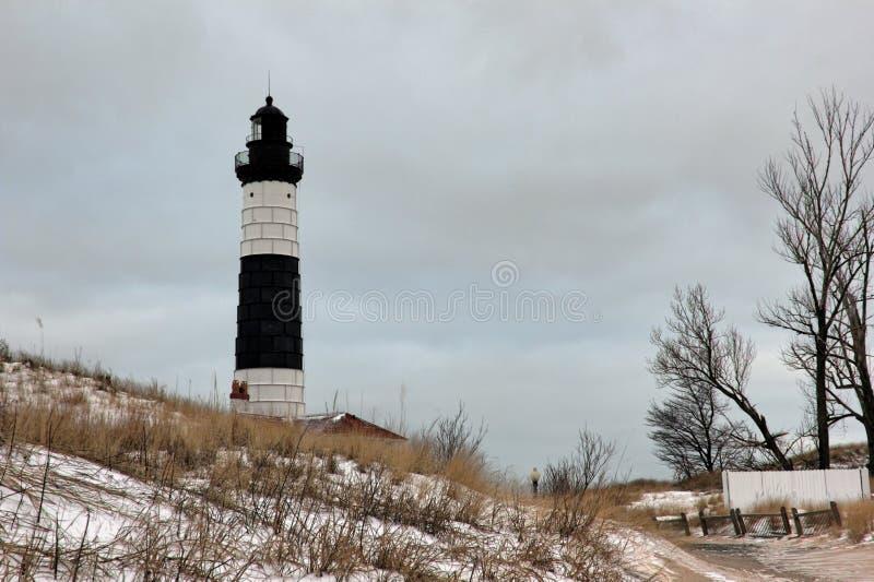 Изображение зимы большого маяка пункта соболя стоковая фотография rf