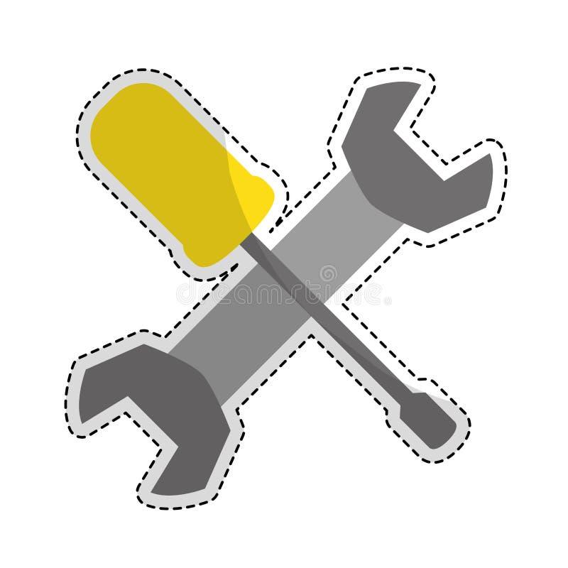 Изображение значка ключа и отвертки иллюстрация штока
