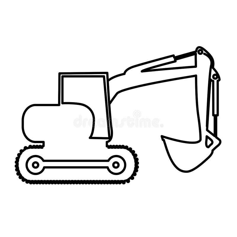 Изображение значка пиктограммы тяжелой техники Backhoe иллюстрация вектора