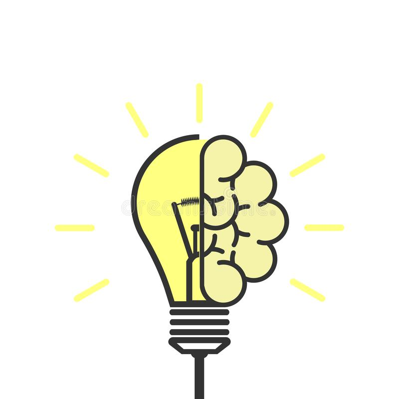 изображение идеи принципиальной схемы 3d представило Электрическая лампочка с мозгом Символ творческой идеи также вектор иллюстра бесплатная иллюстрация