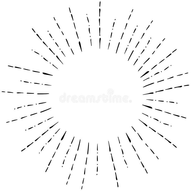 Изображение линейного чертежа руки лучей Солнця в стиле Illustraition года сбора винограда или битника иллюстрация штока