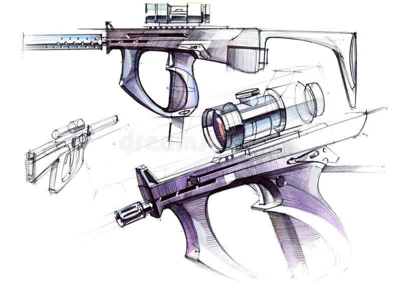 Изображение исключительного пистолет-пулемета автоматического оружия для рукопашного боя бесплатная иллюстрация