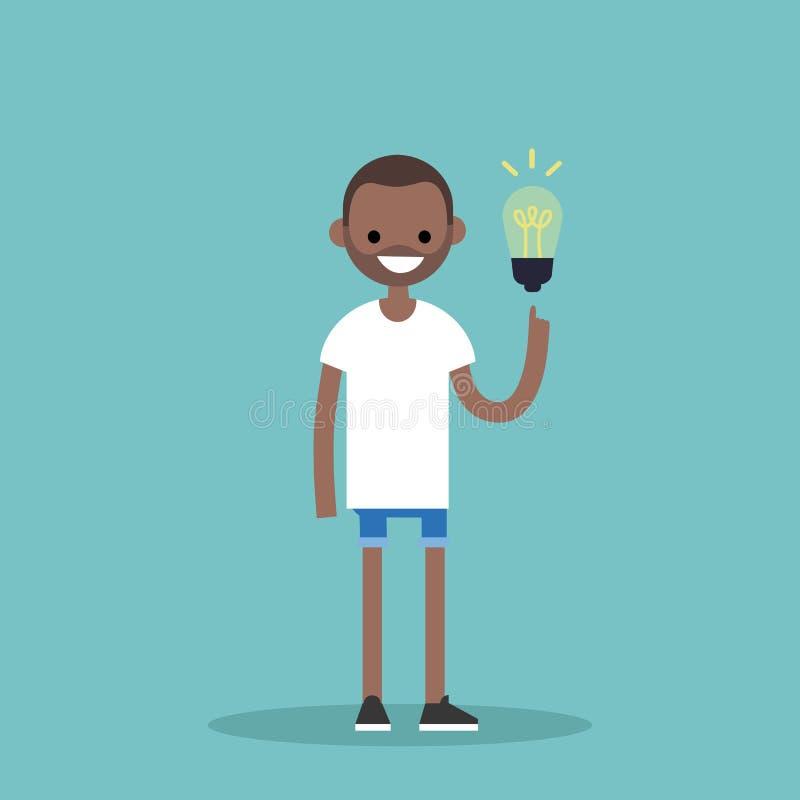 изображение идеи принципиальной схемы 3d представило Момент Aha Мальчик детенышей усмехаясь черный указывает иллюстрация вектора