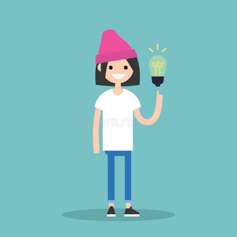 изображение идеи принципиальной схемы 3d представило Момент Aha Молодая усмехаясь девушка указывает finge иллюстрация вектора