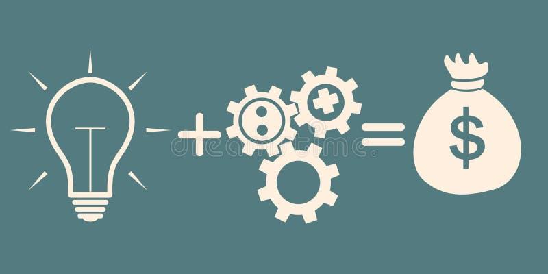изображение идеи принципиальной схемы 3d представило свет bulb+gears=money иллюстрация вектора