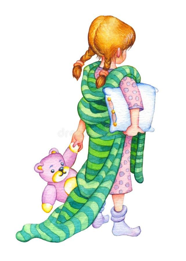 изображение иллюстрации летания клюва декоративное своя бумажная акварель ласточки части Девушка идет положить в постель иллюстрация штока
