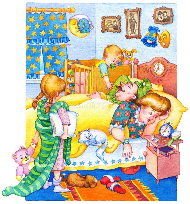 изображение иллюстрации летания клюва декоративное своя бумажная акварель ласточки части Дети проспали вверх и бодрствование ввер иллюстрация вектора