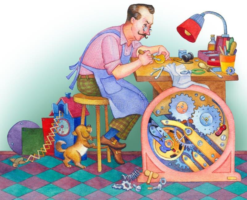 изображение иллюстрации летания клюва декоративное своя бумажная акварель ласточки части Часовщик на его мастерской иллюстрация штока